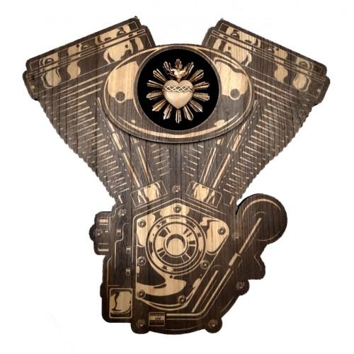 Motore Harley in legno con Cuore Sacro